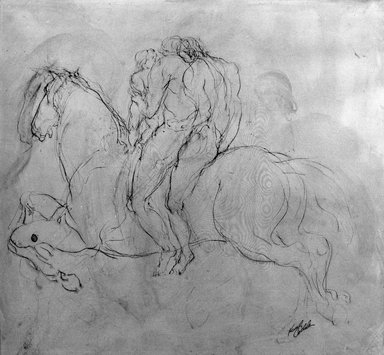 Kenneth L. Callahan (American, 1905-1986). Three Figures on Horseback, 1953. Sepia ink and wash on paper, 20 x 22 1/2 in. (50.8 x 57.2 cm). Brooklyn Museum, Dick S. Ramsay Fund, 65.27.2. © Estate of Kenneth L. Callahan