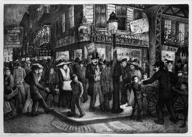 Glenn O. Coleman (American, 1884-1932). The Bowery, 1928. Lithograph on wove paper, Sheet: 12 1/8 x 17 1/4 in. (30.8 x 43.8 cm). Brooklyn Museum, Gift of Mr. and Mrs. William Zorach, 65.64.2