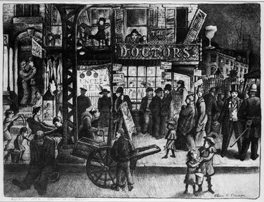 Glenn O. Coleman (American, 1884-1932). Third Avenue, 1928. Lithograph on wove paper, Image: 13 1/4 x 17 5/8 in. (33.7 x 44.8 cm). Brooklyn Museum, Gift of Mr. and Mrs. William Zorach, 65.64.5