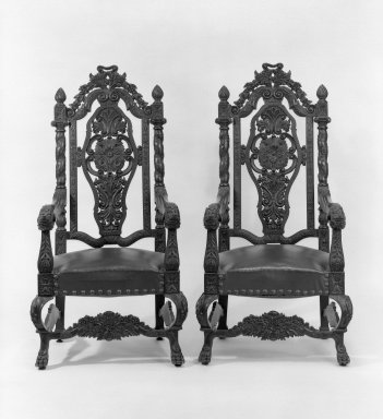 American. Armchair, One of Pair, ca. 1990. Mahogany, imitation leather, 58 1/2 x 30 x 23 1/2 in. (148.6 x 76.2 x 59.7 cm). Brooklyn Museum, Gift of Walter S. Marvin, 66.114.2. Creative Commons-BY