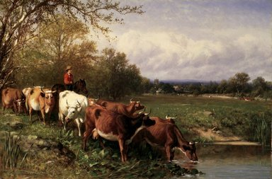 James McDougal Hart (American, 1828-1901). Cattle and Landscape, 1867. Oil on canvas, 19 13/16 x 29 13/16 in. (50.4 x 75.7 cm). Brooklyn Museum, Gift of The Brooklyn Union Gas Company, 66.121.2