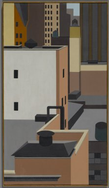 George Copeland Ault (American, 1891-1948). Manhattan Mosaic, 1947. Oil on canvas, 31 7/8 x 18 in. (81 x 45.7 cm). Brooklyn Museum, Dick S. Ramsay Fund, 66.127