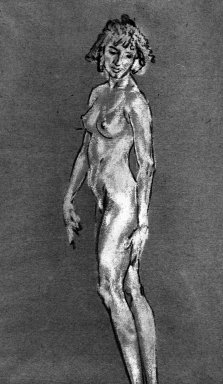 Arthur B. Davies (American, 1862-1928). Standing Nude, n.d. Charcoal and white chalk on paper, Sheet: 18 x 13 5/16 in. (45.7 x 33.8 cm). Brooklyn Museum, Gift of Mrs. Granville S. Carrel, 66.131. © Estate of Arthur B. Davies