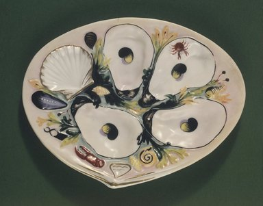 Thomas C. Smith (American, 1815-1901). Oyster Plate, Patented January 4, 1881. Porcelain, 3/4 x 8 5/8 x 6 5/8 in. (1.9 x 21.9 x 16.8 cm). Brooklyn Museum, H. Randolph Lever Fund, 66.182. Creative Commons-BY