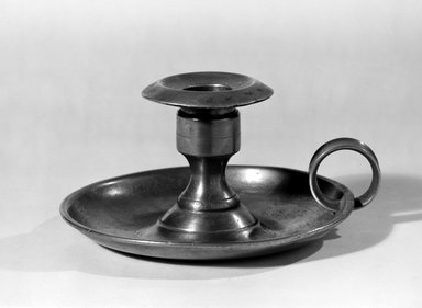 Ostrander & Norris. Chamberstick, 1848-1850. Pewter, 2 3/4 x 5 1/2 x 5 1/8 in. (7 x 14 x 13 cm). Brooklyn Museum, H. Randolph Lever Fund, 66.186.2. Creative Commons-BY