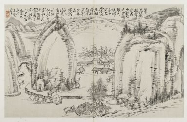 Jiang Shijie (Chinese, 1647-1709). Landscape and Calligraphy from the Album of Three Perfections, late 17th century. Ink on folded double page, 11 x 17 1/2 in. (27.9 x 44.5 cm). Brooklyn Museum, Gift of Dr. and Mrs. Frederick Baekeland, 66.188.2