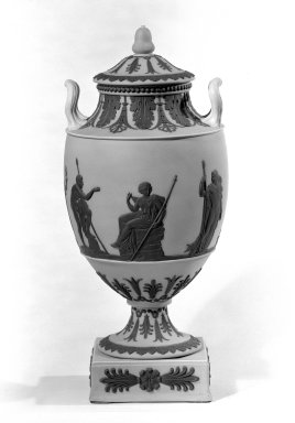 Wedgwood (1759-present). Vase with Cover, ca.1820. Yellow jasperware, 16 x 7 in. (40.6 x 17.8 cm). Brooklyn Museum, Gift of the Bess and Sam Zeigen Family, 66.229.4a-b. Creative Commons-BY