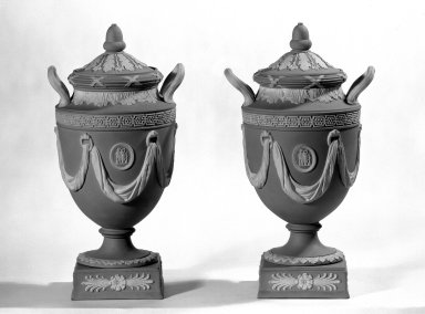 Josiah Wedgwood & Sons Ltd. (founded 1759). Urns with Covers, ca. 1840. Jasperware, 10 1/2 x 4 1/2 in. (26.7 x 11.4 cm). Brooklyn Museum, Gift of the Bess and Sam Zeigen Family, 66.229.9a-d. Creative Commons-BY