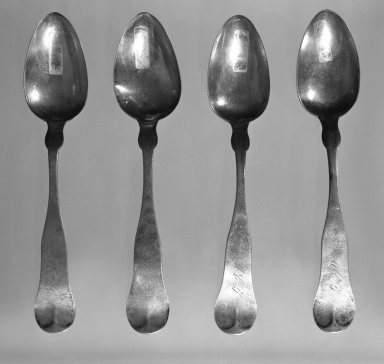 Tablespoon, ca. 1850. Coinsilver, 9 in. (22.9 cm). Brooklyn Museum, Gift of the Estate of Harry G. Friedman, 66.23.27. Creative Commons-BY