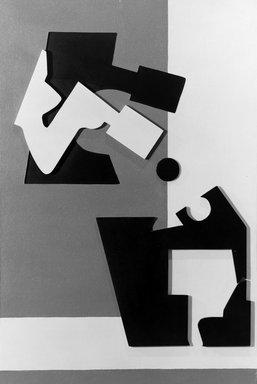 Gertrude Greene (American, 1904-1956). Construction in Ochre, 1941. Oil, wood, and Masonite on Masonite, 36 1/8 x 24 in.  (91.8 x 61.0 cm). Brooklyn Museum, Gift of Balcomb Greene, 66.230. © Estate of Gertrude Greene
