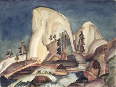 Marguerite Thompson Zorach (American, 1887-1968). Half Dome, Yosemite Valley, California, 1920. Watercolor over graphite on off-white, moderately thick, slightly textured, wove paper mounted to off-white wove paper, 10 x 13 3/8 in. (25.4 x 34 cm). Brooklyn Museum, Gift of Mr. and Mrs. Tessim Zorach, 66.234
