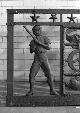 Unknown American. Railing (One of Seven Sections) from the Police Gazette Building, 338-344 Pearl Street, NYC, 1883-1895. Cast iron, overall: 37 1/2 x 831 x 2 1/2 in. (95.3 x 2110.7 x 6.4 cm). Brooklyn Museum, Gift of the William and Marian Zeckendorf Foundation, Inc., 66.249.1. Creative Commons-BY