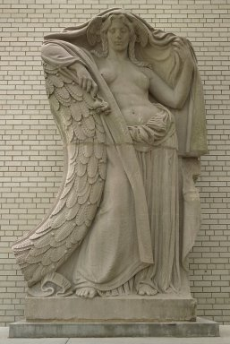Adolph Alexander Weinman (American, born Germany, 1870-1952). Night, Clock Figure from Pennsylvania Station, 31st to 33rd Streets between 7th and 8th Avenues, NYC, ca. 1910. Tennessee marble, 132 x 86 x 42 in. (335.3 x 218.4 x 106.7 cm). Brooklyn Museum, Gift of Lipsett Demolition Co. and Youngstown Cartage, 66.250.1. Creative Commons-BY