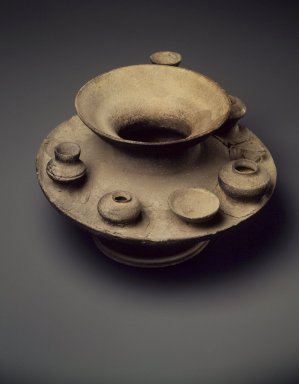 Jar with Attached Miniature Vessels, Sue Ware, 5th-6th century. Gray stoneware, 6 1/2 x 10 1/2 in. (16.5 x 26.7 cm). Brooklyn Museum, Gift of Mrs. Albert H. Clayburgh in memory of her mother, Mrs. E. Evelyn Dorr, 66.33. Creative Commons-BY