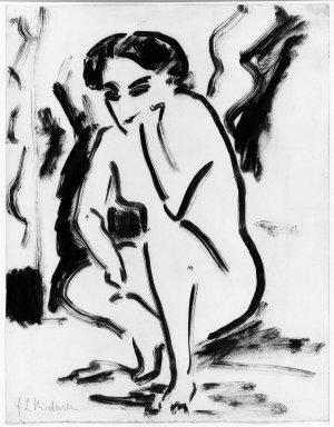 Ernst Ludwig Kirchner (German, 1880-1938). Kauerndes Weib, ca. 1909. Drawing in pen and brush on wove paper, 17 11/16 x 13 3/4 in. (45 x 35 cm). Brooklyn Museum, Purchased with funds given by Mr. and Mrs. Carl L. Selden, 66.38