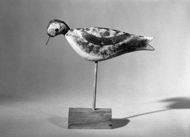 Lewis W. Kieth. Decoy - Shore Bird (Dowitcher), ca. 1875. Painted wood, Bird: 3 3/4 x 1 3/8 x 9 5/8 in. (9.5 x 3.5 x 24.4 cm). Brooklyn Museum, H. Randolph Lever Fund, 66.73.2. Creative Commons-BY