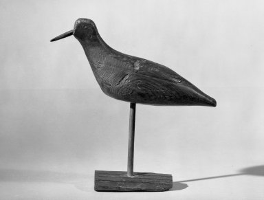 Decoy - Shore Bird (Plover), ca. 1875. Painted wood probably eastern white pine, bird: 7 x 2 3/4 x 11 in. (17.8 x 7 x 27.9 cm). Brooklyn Museum, H. Randolph Lever Fund, 66.73.3. Creative Commons-BY