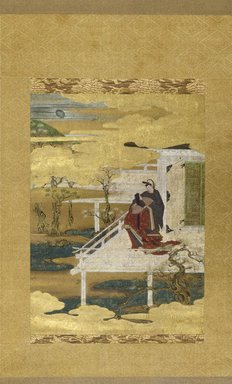 """After Iwasa Matabei (17th century). Scene from the Tale of Genji (Hana No En, """"Festival of the Cherry Blossoms""""), 17th century. Hanging scroll, ink color and gold leaf on paper, 49 3/16 x 18 1/8 in. (125 x 46 cm). Brooklyn Museum, Purchased with funds given by Mrs. Louis Nathanson and the Frank L. Babbott Fund, 66.76"""