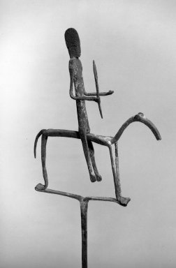 Bamana. Staff with Equestrian Figure, late 19th-early 20th century. Iron, pigment, accumulated materials, 29 7/8 x 8 x 1in. (75.9 x 20.3 x 2.5cm). Brooklyn Museum, Frederick Loeser Fund, 66.8. Creative Commons-BY