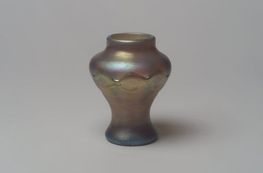 Tiffany Studios (1902-1932). Vase, ca. 1896-1919. Opalescent glass, 3 3/8 x 2 1/2 x 2 1/2 in. (8.6 x 6.4 x 6.4 cm). Brooklyn Museum, Bequest of Laura L. Barnes, 67.120.66. Creative Commons-BY