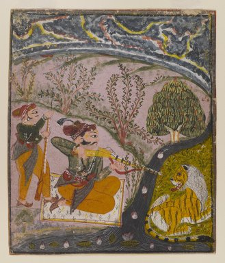 Indian. Hunt Scene, ca. 1850. Opaque watercolor on paper, sheet: 8 5/8 x 7 3/8 in.  (21.9 x 18.7 cm). Brooklyn Museum, Frank Sherman Benson Fund, 67.131