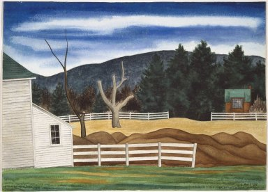 George Copeland Ault (American, 1891-1948). Woodstock Landscape, 1938. Watercolor over graphite on cream-colored, very thick, rough textured wove paper, Sheet: 15 1/4 x 21 1/8 in. (38.7 x 53.7 cm). Brooklyn Museum, Gift of Mrs. George C. Ault, 67.132