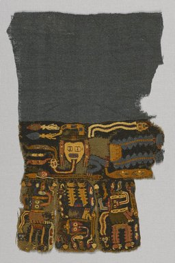 Nasca (attributed by Nobuko Kajatani, 1993). Textile Fragment, Unascertainable or Mantle?, Fragment, 200-600 C.E. Textile. Cotton, camelid fiber, 10 1/4 x 6 11/16in. (26 x 17cm). Brooklyn Museum, Gift of Adelaide Goan, 67.159.61. Creative Commons-BY