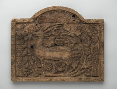 Panel with Ibex, Fish, and Grapevines, late 7th - early 8th century. Wood, 9 9/16 x 11 5/8 in. (24.3 x 29.6 cm). Brooklyn Museum, Charles Edwin Wilbour Fund