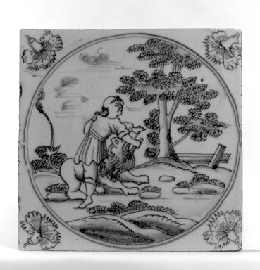 Tile, ca.1700-1725. Glazed earthenware, 5 x 5 x 1/4 in. (12.7 x 12.7 x 0.6 cm). Brooklyn Museum, H. Randolph Lever Fund, 67.179.6
