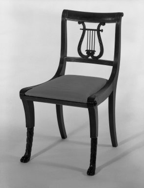 Duncan Phyfe (1768-1854). Chair, One from a Set of 10, 1816. Mahogany, watered damask, height of back: 23 1/4 in. (59.1 cm). Brooklyn Museum, H. Randolph Lever Fund, 67.19.2. Creative Commons-BY