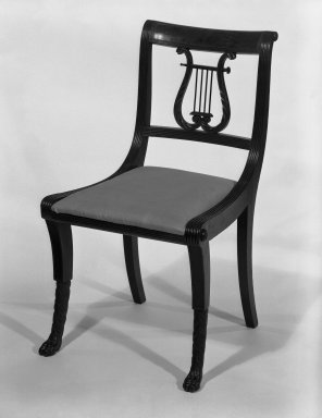 Duncan Phyfe (American, born Scotland, 1768-1854). Chair, One from a Set of 10, 1816. Mahogany, watered damask, height of back: 23 1/4 in. (59.1 cm). Brooklyn Museum, H. Randolph Lever Fund, 67.19.3. Creative Commons-BY