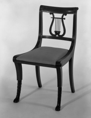 Duncan Phyfe (1768-1854). Chair, One from a Set of 10, 1816. Mahogany, watered damask, height of back: 23 1/4 in. (59.1 cm). Brooklyn Museum, H. Randolph Lever Fund, 67.19.4. Creative Commons-BY
