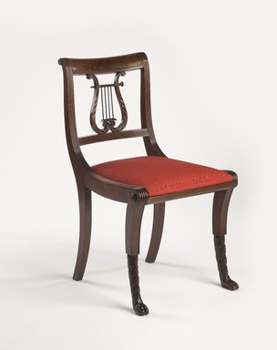 Duncan Phyfe (American, born Scotland, 1768-1854). Chair, One from a Set of 10, 1816. Mahogany, watered damask, Height of back: 23 1/4 in. (59.1 cm). Brooklyn Museum, H. Randolph Lever Fund, 67.19.5. Creative Commons-BY