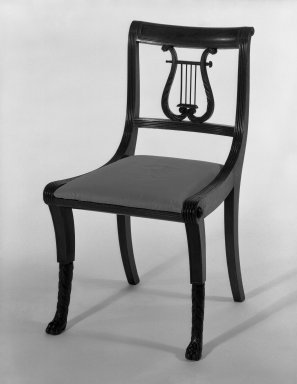 Duncan Phyfe (1768-1854). Chair, One from a Set of 10, 1816. Mahogany, watered damask, height of back: 23 1/4 in. (59.1 cm). Brooklyn Museum, H. Randolph Lever Fund, 67.19.6. Creative Commons-BY