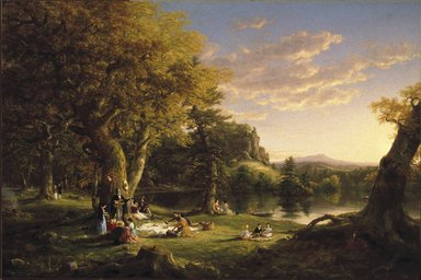 Thomas Cole (American, born England, 1801-1848). A Pic-Nic Party, 1846. Oil on canvas, 47 7/8 x 54 in. (121.6 x 137.2 cm). Brooklyn Museum, Healy Purchase Fund B, 67.205.2