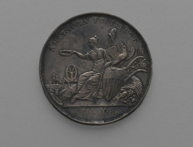 Robert Lovett (American, 1796-1874). American Institute Award Medal, 1841 medal designed; 1859 issued. Silver, Medal: 2 1/16 x 2 1/16 x 1/8 in. (5.2 x 5.2 x 0.3 cm). Brooklyn Museum, Gift of Mr. and Mrs. Samuel Schwartz, 67.226. Creative Commons-BY