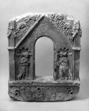 Stone Tabernacle with Annunciation Scene, late 15th century. Limestone, 20 1/2 x 4 inches. Brooklyn Museum, Gift of Samuel H. Kress Foundation, 67.236. Creative Commons-BY