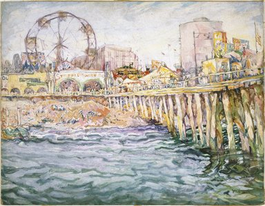 John Wenger (American, born Russia, 1888-1976). Coney Island, 1931. Transparent and opaque watercolor over graphite on off-white, moderately thick, slightly textured wove paper mounted to wood pulp paperboard (Whatman Drawing Board), 21 13/16 x 28 3/16 in. (55.4 x 71.6 cm). Brooklyn Museum, Gift of the artist, 67.238. © Estate of John Wenger