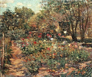 Ernest Lawson (American, 1873-1939). Garden Landscape, ca. 1915. Oil on canvas, 19 15/16 x 23 7/8 in. (50.6 x 60.6 cm). Brooklyn Museum, Bequest of Laura L. Barnes, 67.24.10