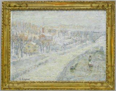 Ernest Lawson (American, 1873-1939). Winter Landscape: Washington Bridge, ca. 1907-1910. Oil on canvas, 18 1/16 x 24 in. (45.8 x 61 cm). Brooklyn Museum, Bequest of Laura L. Barnes, 67.24.12