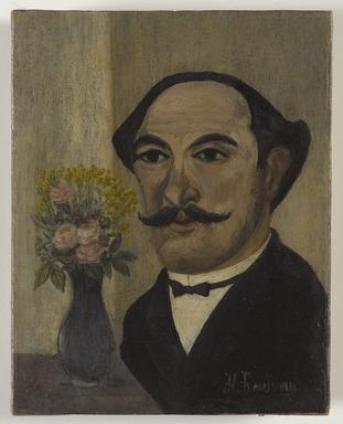 Henri-Julien-Félix Rousseau, called Le Douanier Rousseau (French, 1844-1910). Self-Portrait, ca. 1900-1903. Oil on canvas, 7 3/8 x 5 3/4 in.  (18.7 x 14.6 cm). Brooklyn Museum, Bequest of Laura L. Barnes, 67.24.14