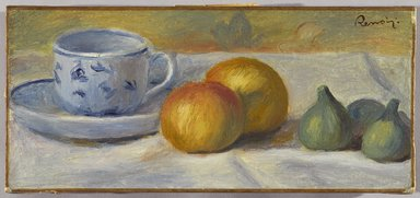 Pierre-Auguste Renoir (French, 1841-1919). Still Life with Blue Cup (Nature morte à la tasse bleue), ca. 1900. Oil on canvas, 6 x 13 1/8 in. (15.2 x 33.3 cm). Brooklyn Museum, Bequest of Laura L. Barnes, 67.24.19