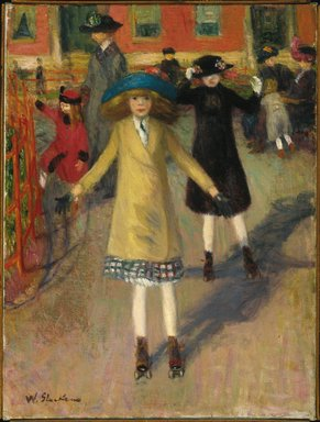 William Glackens (American, 1870-1938). Children Rollerskating, ca. 1912-14. Oil on canvas, 23 3/4 x 17 15/16 in. (60.3 x 45.6 cm). Brooklyn Museum, Bequest of Laura L. Barnes, 67.24.1