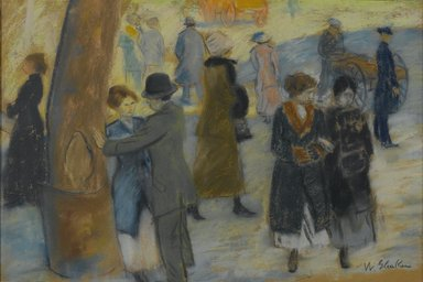 William Glackens (American, 1870-1938). City Scene, ca. 1910. Pastel on rust-colored reverse side of a wallpaper fragment, 12 1/4 x 18 in. (31.1 x 45.7 cm). Brooklyn Museum, Bequest of Laura L. Barnes, 67.24.28