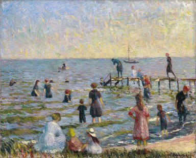 William Glackens (American, 1870-1938). Bathing at Bellport, Long Island, 1912. Oil on canvas, 26 1/16 x 32 in. (66.2 x 81.3 cm). Brooklyn Museum, Bequest of Laura L. Barnes, 67.24.6