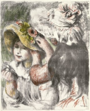 Pierre-Auguste Renoir (French, 1841-1919). Pinning the Hat (Le Chapeau épinglé), 1898. Color lithograph on MBM laid paper, Image: 23 7/8 x 19 in. (60.6 x 48.3 cm). Brooklyn Museum, Bequest of Laura L. Barnes, 67.29.1