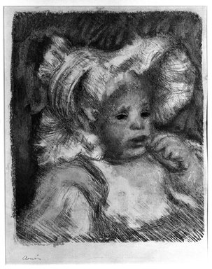 Pierre-Auguste Renoir (French, 1841-1919). Child with a Biscuit, (L'Enfant au Biscuit), 1899. Lithograph on wove paper, 12 5/8 x 10 5/8 in. (32.1 x 27 cm). Brooklyn Museum, Bequest of Laura L. Barnes, 67.29.2