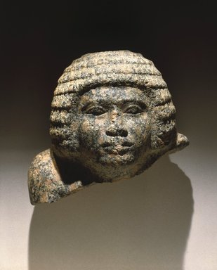 Head of a Nobleman, ca. 2650-2600 B.C.E. Granite, 6 3/4 x 8 1/2 x 6 in. (17.1 x 21.6 x 15.2 cm). Brooklyn Museum, Charles Edwin Wilbour Fund, 67.5.1. Creative Commons-BY