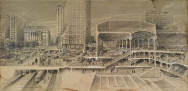 Harry M. Pettit (American, 1867-1941). Sectional View Showing Traffic Facilities at the Brooklyn Bridge in Connection with Proposed Manhattan Terminal ..., ca. 1912. India ink and wash touched with opaque white, Image: 26 1/4 x 54 3/4 in. (66.7 x 139 cm). Brooklyn Museum, Gift of the Department of Public Works, Bureau of Bridges, City of New York, 67.55.2