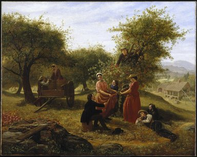 Jerome Thompson (American, 1814-1886). Apple Gathering, 1856. Oil on canvas, 39 3/4 x 49 1/2 in. (100.9 x 125.8 cm). Brooklyn Museum, Dick S. Ramsay Fund and funds bequeathed by Laura L. Barnes, 67.61